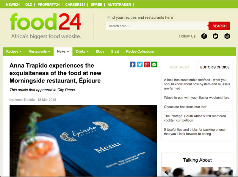 Epicure Restaurant | Food24 Article