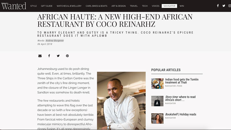 African Haute: a new high-end African restaurant by Coco Reinarhz | Epicure Restaurant